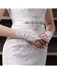 Xizi moda nueva mujer de encaje blanco flor manoplas nupcial boda guantes sin dedos