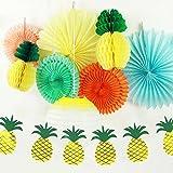 SUNBEAUTY 9er Set Lampion Gelb Wabenbälle Ananas Papier Deko Seire Sommerparty Dekoration Zimmerdeko von