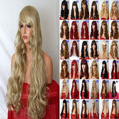 Perücke Fashion extralang lockig Natürliche Haar Party hitzebeständiges Kunsthaar Perücke Sandy Blonde Voller Kopf Perücke J20 (Sandy Halloween Haar,)