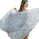 Mandala Life ART Mandala Pareo - Strand Sarong für Frauen - Bikini Vertuschen - Sommerkleid - Pool Bademode - Wandbehang - Stranddecke (Silber Lotos)