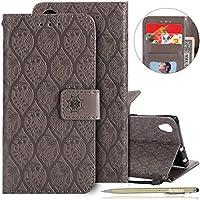 Herbests Handytasche für Sony Xperia XA1 Plus Handyhülle Prägung Blumen Muster Luxus Klapphülle Bookstyle Flip Cover Tasche Wallet Case Ledertasche Leder Hülle Handy Schutzhülle,Grau