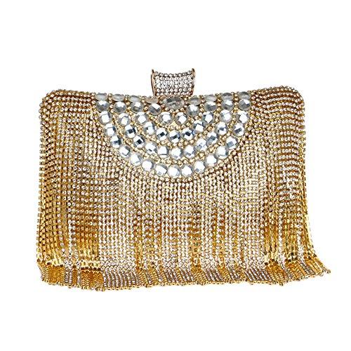 Flada Women's Strass Evening Bag und Clutch purse für Hochzeit mit Quasten Gold (Neue Womens Strass)