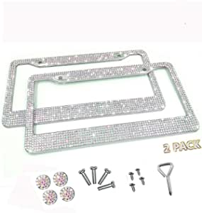 2 X Aa Ss16 Glitter Crystal Car Number Plate Frame Glass With Diamante Hand Crafted Glitter Chrome Rhinestone Metal Frame For Men And Women Auto
