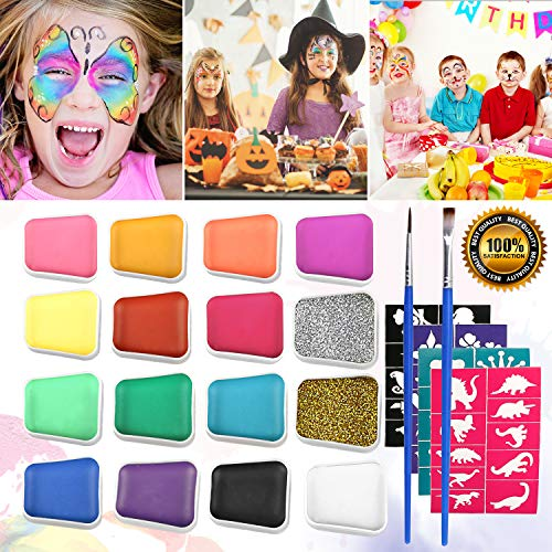Emooqi Kinderschminke Set für Kinder, 16 Farbe Kinderschminke Farben mit 2 Stück Glitter Pulver +...