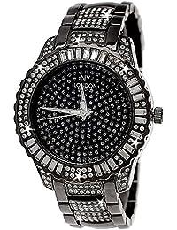 Edle XXL designer Strass Damenuhr Damen Armband Uhr Schwarz Anthrazit inkl Uhrenbox
