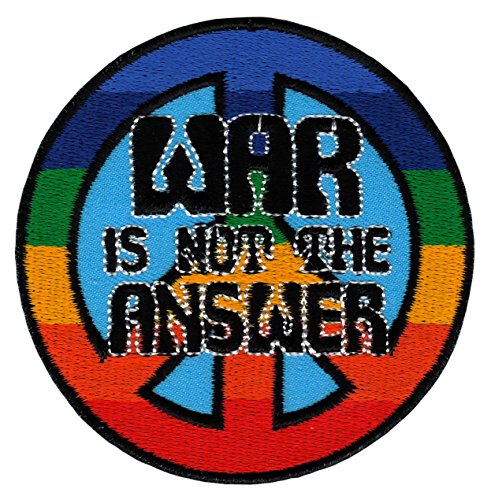 War Is Not The Answer Símbolo Arco Iris Parche Plancha de decoración 7,5 x 7,5 cm