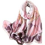 YAKEFJ Sciarpa lunga da donna, in seta, morbida, elegante, per primavera, autunno, estate, 180 x 90 cm