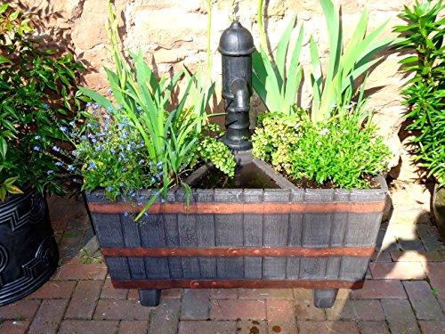 Effet chêne Woodland Jardinière de lavabo avec bronze Réplique Pompe/3 Pocket Garden Pot de fleurs