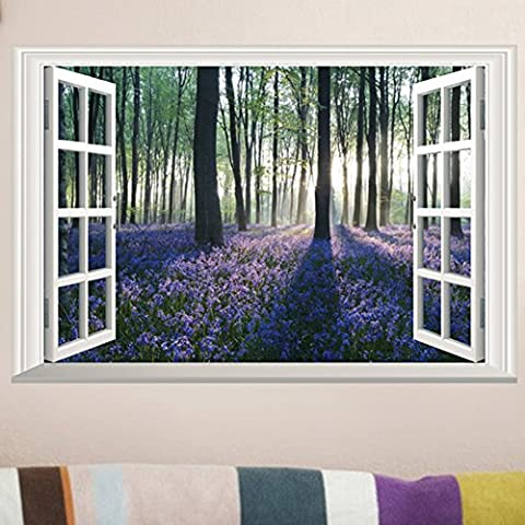 MEIJING 3D Vinyl Wall Decal Sticker fenêtre Style de cadre Matin Ensoleillé Forêt Violet Fleurs Larvender de haute qualité Home Décor Art amovible Autocollant Mural (B)