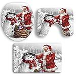 3 Piece Christmas Style Antiscivolo Tappetino da Bagno Set - Piedistallo Tappeto + Coperchio WC Cover + Tappetino da Bagno - Home party Decor