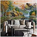 3D Mural Custom MuralWallpaper Mountain Water Small Chalet Nature Landscape Oil Painting Canvas Bedroom Living Room Wall Decor Silk Cloth 400X280cm,Ayzr