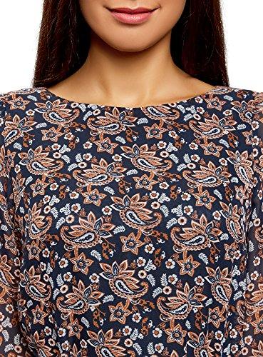 oodji Ultra Damen Kleid aus Fließendem Stoff mit Gürtel Mehrfarbig (2933E)