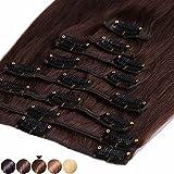 S-noilite 45-55CM 8 Extensions de cheveux humains à clips naturels – 100% Remy hair - 8 Mèches / 18 Clips (45cm=70g, #04 Marron chocolat)