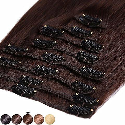 S-noilite® 45-55CM 8 Extensions de cheveux humains à clips naturels – 100% Remy hair - 8 Mèches / 18 Clips (45cm=70g, #04 Marron chocolat)