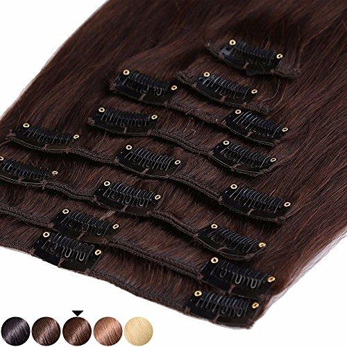 S-noilite® 45-55CM 8 Extensions de cheveux humains à clips naturels – 100% Remy hair - 8 Mèches / 18 Clips (50cm=70g, #04 Marron chocolat)