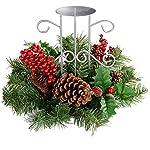 WeRChristmas - Portacandela centrotavola decorativo con pigne e bacche, 22 cm, un supporto per candela centrale, motivo natalizio