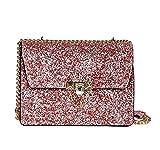 Mioy Elegant umhängetasche Damen Handtasche Leder Henkeltaschen Kleine Schultertasche lässig Damentaschen Mit Pailletten (Pink)