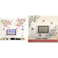 Decals Design 'Flowers Branch' Wall Sticker (PVC Vinyl, 60 cm x 90 cm),Multicolor & 'Lovely Butterflies' Wall Sticker (PVC Vinyl, 90 cm x 30 cm, Black) Combo