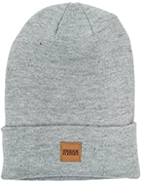 Urban Classics Unisex Strickmütze Leatherpatch Long Beanie