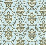 Klebefolie Möbelfolie Ornamente Gold Hellblau 45 cm x 200 cm Barock Dekorfolie Selbstklebefolie