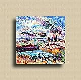 Quadro ad olio su tela dipinto a mano colori professionali da artista, arredamento moderno contemporaneo stile impressionista pezzo unico non riproducibile, LO STAGNO olio su tela 80xl80cm