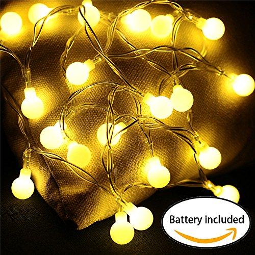 Lichterkette Glühbirne mit batterie, 20er LED Lichterkette innen Kugeln, Globe String Licht Sternenlicht, Deko Glühbirne, warmweiß Weihnachtsbaumbeleuchtung, Weihnachten/ Hochzeit/ Party/ Weihnachtsbaum/ Dekolampe,mit Fotoclips (Spiegel-ball-licht)