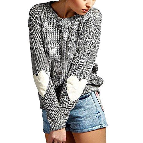 Eleery Damen Einfabrig Pullover Winter Herz Arm Warm Lose Casual Outwear Mantel Wolljacke Strickpullover (Casual Herz)