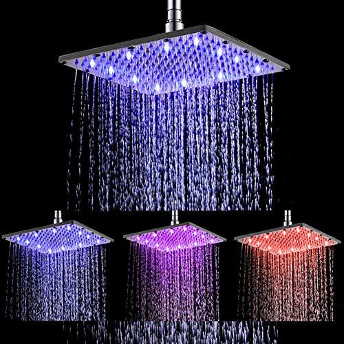 Ufatansy LED Swivel Duschkopf Edelstahl Temperaturregelung 3 Farbwechsel Wasserdurchfluss Angetrieben Hochdruckspray Regendusche (10 Inch, Square)
