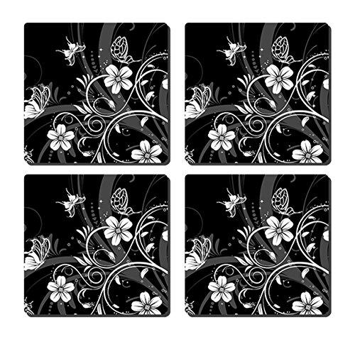 luxcase Design Schwarz Weiß Blume Schmetterling Creative Küchengeschirr Kork Square Pad Matte Tischset Tisch oder in der Küche Heat Mat -