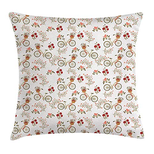 Floral Throw Pillow Cushion Cover, Nostalgic Romance with Bikes Baskets Full of Poppy Flowers Baskets Love Birds Spring, Decorative Square Accent Pillow Case, 18 X 18 inches, Multicolor