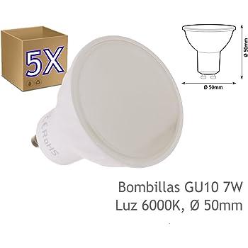 5 Bombilla led GU10 dicroica7W blanco frio 6000K