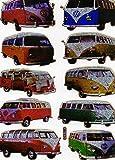 Auto VW Bus Bully bunt Aufkleber 10-teilig 1 Blatt 135 mm x 100 mm Sticker Basteln Kinder Party Metallic-Look