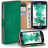 moex Samsung Galaxy S3 Mini | Hülle Dunkel-Grün mit Karten-Fach 360° Book Klapp-Hülle Handytasche Kunst-Leder Handyhülle für Samsung Galaxy S3 Mini S III Case Flip Cover Schutzhülle Tasche