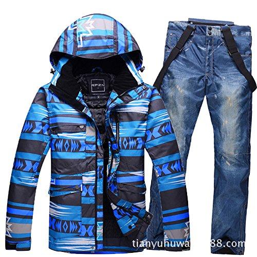 DYF Männer/Frauen Mantel Ski Jacke Hose Anzug wasserdicht Winddicht warmen Reißverschluss, Farbe 2, M