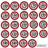 Auprotec Kundendienstaufkleber Geschwindigkeitsaufkleber Winterreifen Aufkleber 160-240 km/h Auswahl: (Sortiment gemischt, Set 24 Stück)