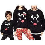Navidad Sudadera sin Capucha Familiar Disfraz de Padres e Hijos Camiseta de Manga Larga con Patrón de Reno Top Sweatshirt de