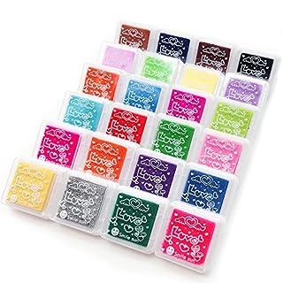 ApoGo 24 Farben Stempelkissen Set, Stempel Tinte, Tinte Pads Stempel, Stamp Pad Fingerdruck Fuer Papier Handwerk Stoff, Fingerabdruck,Scrapbook, Malerei,Mehrfarbige
