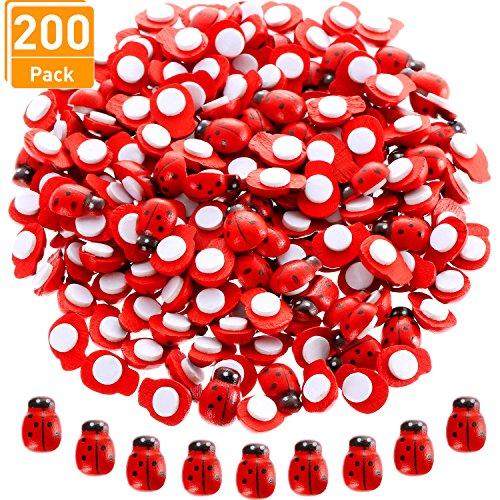 Blulu 200 Stück Mini Marienkäfer aus Holz Marienkäfer Geformte Aufkleber Selbstklebende Marienkäfer für Den Garten, Topfpflanzen Dekor