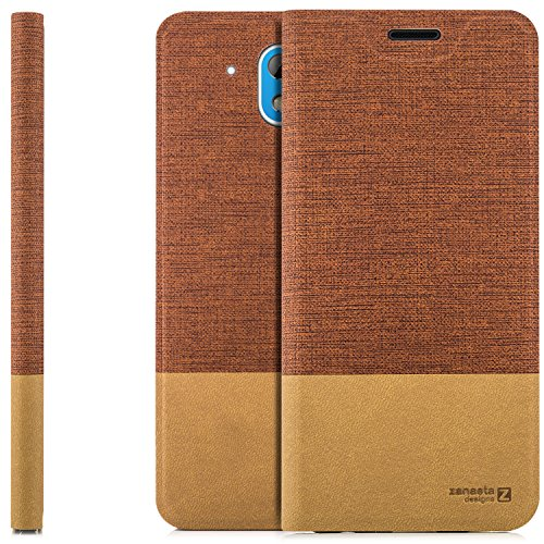 zanasta Designs Tasche HTC Desire 526G Hülle Flip Case Slim Schutzhülle Handytasche mit Kartenfach, Standfunktion | Rotbraun