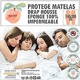 Protège matelas / alèse-140x190/200 cm-PEACHSKIN-100% IMPERMÉABLE-OEKOTEX-Respirant-Antibactérien-Antiacarien-Coton éponge