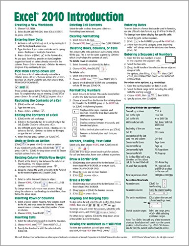 Microsoft Excel 2010 Introduction Quick Reference Guide (Cheat Sheet of Instructions, Tips & Shortcuts - Laminated Card) (Für Excel Cheat-sheet)