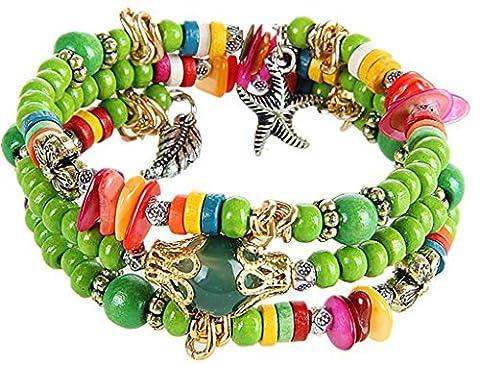 Bohemia Style Bracelet, Women's Wood Beads Multi Layer Strand Stretch