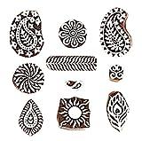 Hashcart Baren - Tampons à imprimer en bois - Sculptés à la main - Pour henné, impression sur textile, scrapbooking, poterie et peinture murale - Lot de 10, marron, Set # 1029