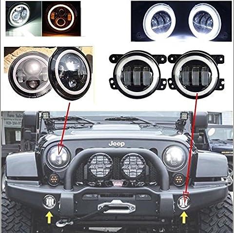 LWD 7inch Jeep LED Scheinwerfer mit Weiß DRL / Bernstein