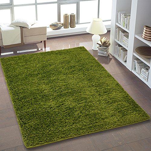 Shaggy Teppich Hochflor Langflor Teppiche fürs Wohnzimmer und Schlafzimmer geeignet sowie für die Küche und Kinderzimmer Ökotex 100 zertifiziert (200X250 cm, grün)