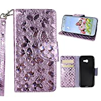 Galaxy A3 2017 Wallet Case, Samsung Galaxy A320F Cover Case, Rosa Schleife Sparkle Bling Glitter PU Leather Butterfly Painting Pattern Embossed Floral Flip Folio Magnetic Snap Leather Phone Case Protective Case Cover Shell Skin for Samsung Galaxy A3 2017