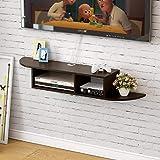Kundi Floating TV Stand Wall Mounted Media Console Entertainment Storage Shelf Black (Brown)