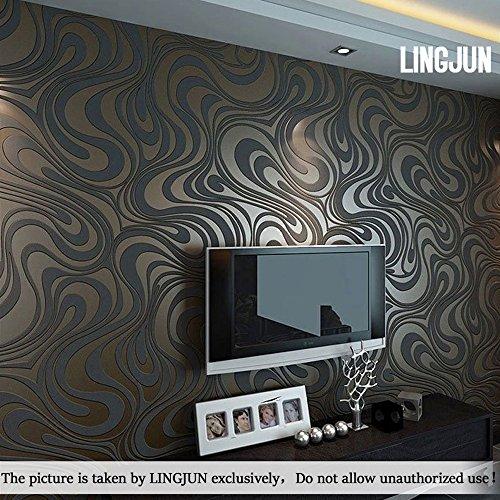 Lingjun moderno carta da parati minimalista non tessuto schema di pianta di acqua 3d flocking embossed soggiorno camera da letto