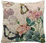 Bromeo Platz Baumwolle Leinen Dekokissen Abdeckung Schmetterling rosa Blume 18