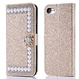 Misteem Hülle für iPhone 8 Plus, Lederhülle iPhone 7 Plus Glitzer Pearl Strass, Luxus Flip Case Magnetisch Weich Brieftasche Muster Faltbar Buch Leder Wallet [Flash Glitter Diamant] 3D Cover Stossfest Schutzhülle für Apple iPhone 7 Plus / iPhone 8 Plus 5.5 Zoll [Gold]